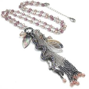 Guess Jewelry - Guess Snake Tassel Pendant Crystal Necklace